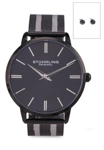 Stuhrling Original black Symphony 3998 Quartz Mesh Watch Set 3CD95AC19484F1GS_1