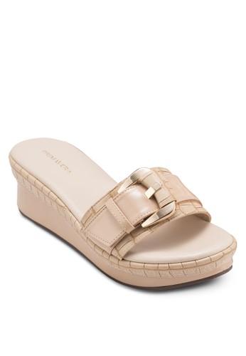 CAREY 鱷魚紋扣環寬帶楔形涼鞋, 女鞋, 楔形esprit 鞋涼鞋