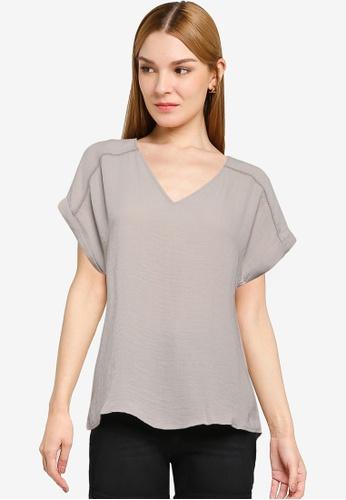 JACQUELINE DE YONG grey Rachel Short Sleeve Top 326E3AA09E7F8CGS_1