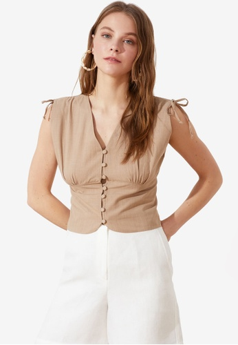 Trendyol brown Button Down Sleeveless Top A4FC2AAA73B4A5GS_1