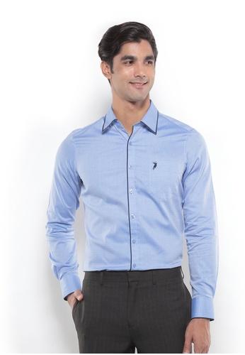 POLO HAUS blue Polo Haus - Men Woven Shirt (Blue) PO783AA82YRLMY_1