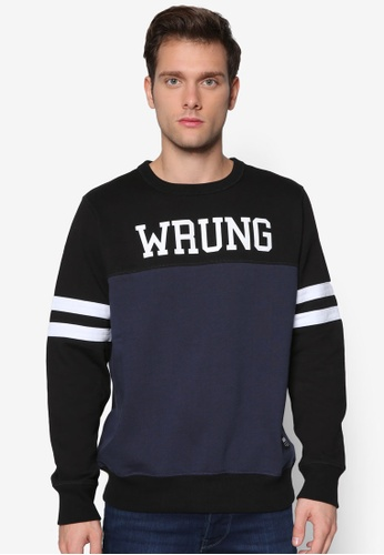 Wrung 海軍藍色 色塊條紋文字設計長袖衫 WR395AA56QIDMY_1