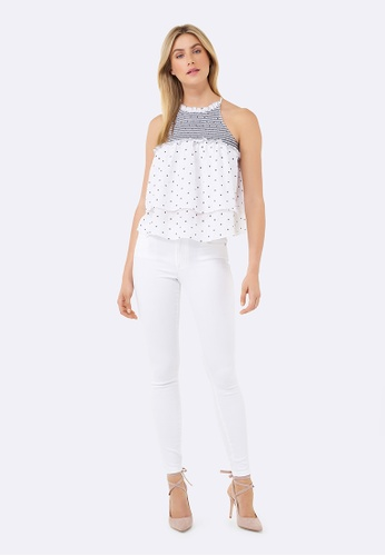 Forever New white Patricia Shirred Spot Cami 802C1AA257CBD7GS_1