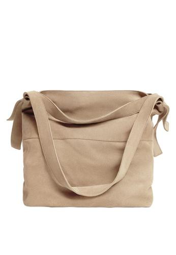 Mango beige Leather Bucket Bag 6C5F1ACC2C50DFGS_1