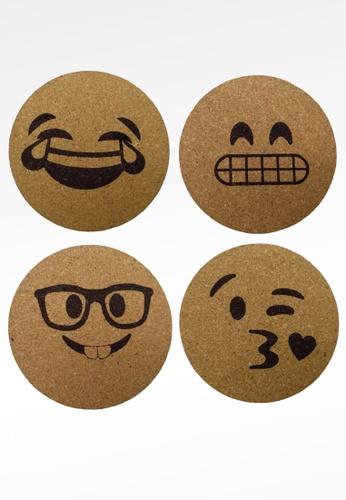 Ayra Home & Living brown Emoji Set Drink Coaster 337F2HLC2675BEGS_1