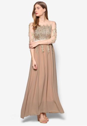 水晶亮飾長袖長袍, 服飾, 洋zalora 泳衣裝