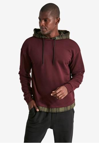 Trendyol red Hooded Plaid Panel Sweatshirt 7D6D9AA66E04C7GS_1