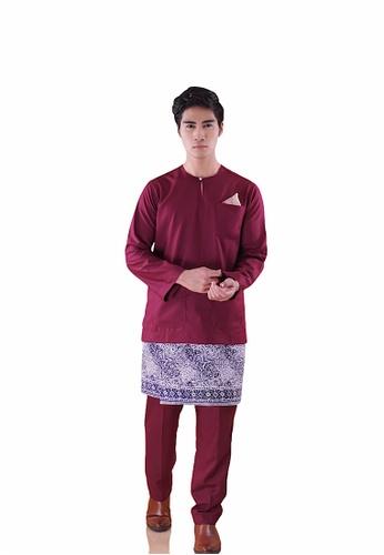 I Am Famous red Asytar Baju Melayu with Sampin CC68CAA3EB14C9GS_1