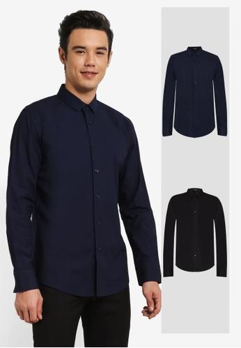 ZALORA black and navy 2 Pack Soft Cotton Twill Long Sleeve Shirt ZA819AA0RO1JMY_1