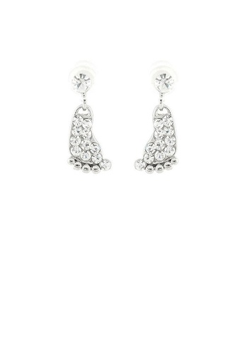 Glamorousky silver Elegant Footprint Earrings with Silver Austrian Element Crystals D8AB8AC1B586A7GS_1