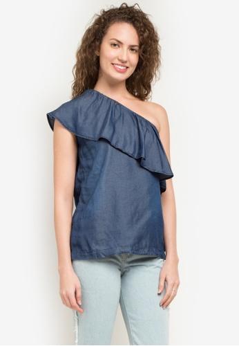 Folded & Hung blue Slanted Off Shoulder Top FO373AA0K4I4PH_1