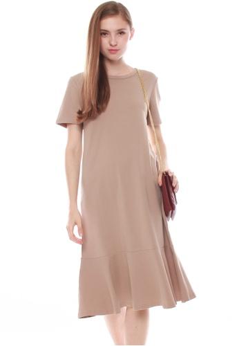 JOVET brown Fluted Hem Midi Dress B1BE5AA5A8F7B3GS_1