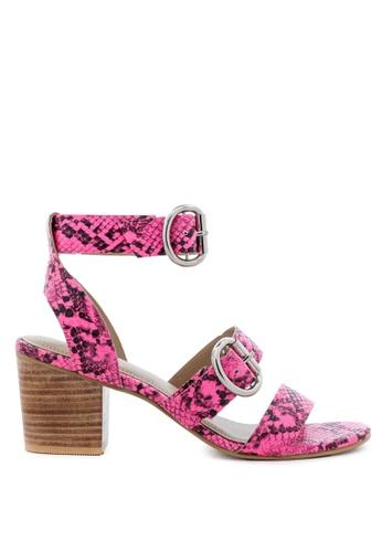 Rag & CO. pink Stacked Heel Snake Print Sandal 0B838SH00F89D2GS_1