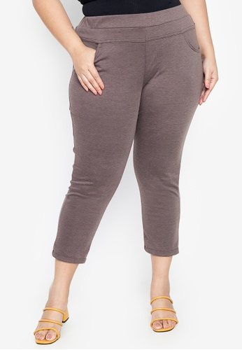 Maxine brown Plus Size Cropped Skinny Pants 5615EAA1180BEAGS_1