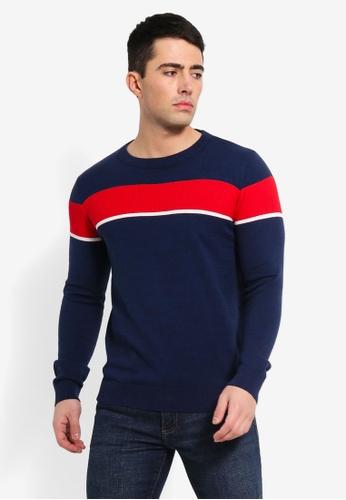 Jack & Jones 藍色 撞色紋理毛衣 0BFA9AA6470F74GS_1