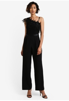 7301938603a Miss Selfridge. Black Lace One Shoulder Jumpsuit