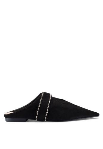 Berrybenka 黑色 鑽飾尖頭穆勒鞋 F48CCSH889174BGS_1