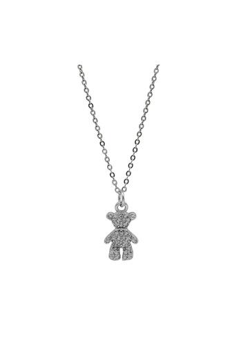 LYCKA silver LDR1353 S925 Silver Cute Teddy Necklace 37149ACBA0543FGS_1