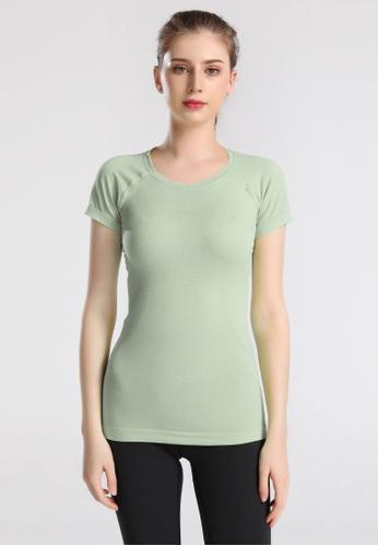 B-Code green ZUU3008-Lady Quick Drying Running Fitness Yoga Sports Tee-Green 0921CAA82B77C7GS_1