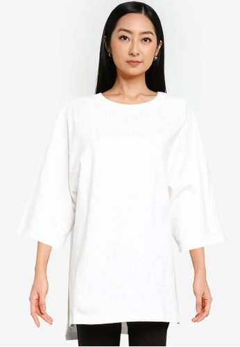 JEANASIS white Oversized Knit T-Shirt 643D1AA2F04731GS_1