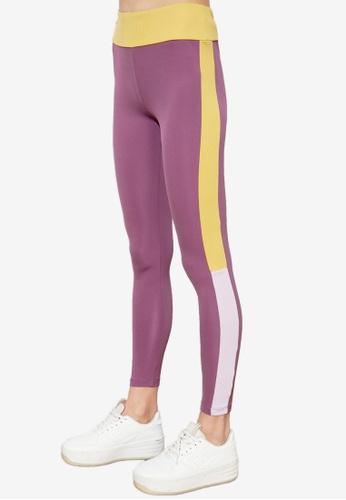 Trendyol purple Side Colorblock Sports Leggings 7AC5BAA5D0D6F1GS_1
