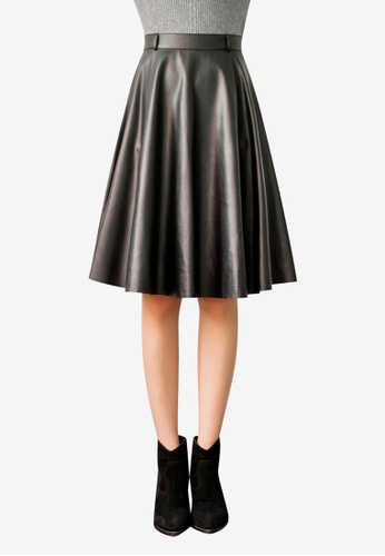 Tokichoi black Faux Leather Skater Skirt 4FB46AA7AF5C4CGS_1