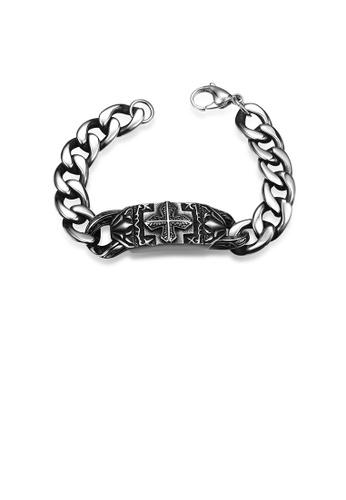 Glamorousky silver Vintage Fashion Cross Bracelet CB364AC7867751GS_1