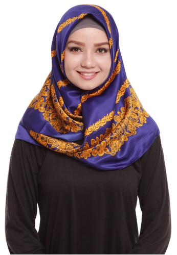 Mybamus Carving Square Hijab Satin Navy