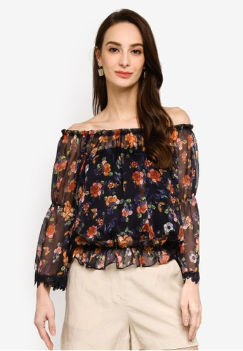 Hopeshow navy Flare Capri Sleeves Floral Blouse 5FBABAAB963097GS_1