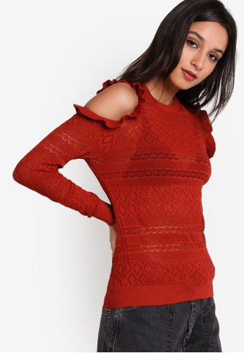 TOPSHOP red and brown Pointelle Frill Cold Shoulder Top TO412AA44UWTMY_1