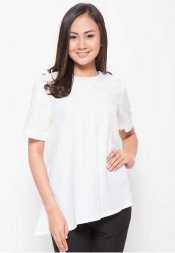 Novo white Asymmetrical Tied Blouse White 83F70AAE8EA111GS_1