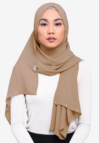 UMMA brown Jawhara Pearl Basic Scarf 8F3B5AA8FAEEC8GS_1