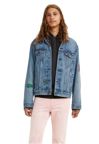 Levi's blue Levi's The Trucker Jacket Freehand Embdy Trucker (72334-0569) 98A5DAAFF17FE0GS_1