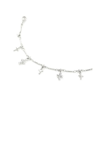 Glamorousky silver Elegant Cross Anklet with Silver Austrian Element Crystals 2F72CAC32A256AGS_1