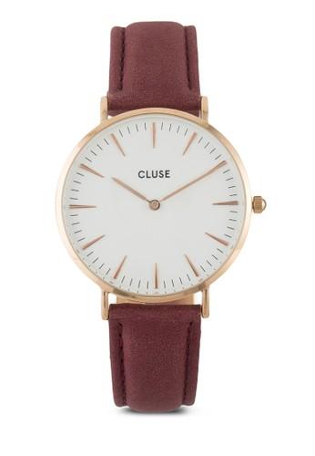 La Bohème 刻度顯示真皮圓錶, 錶類,esprit outlet 家樂福 皮革錶帶