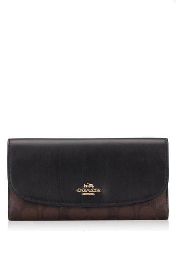 Coach brown Coach Checkbook Wallet In Signature - Dark Brown EF637ACCD3BAA6GS_1
