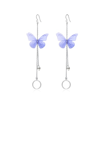 Glamorousky white 925 Sterling Silver Elegant Sweet and Romantic Blue Lace Butterfly Long Tassel Earrings with Pearl 91555ACB915765GS_1