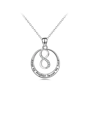 Glamorousky white 925 Sterling Silver Simple Temperament Infinity Symbol Geometric Round Pendant with Cubic Zirconia and Necklace 0AED0AC9A59F94GS_1