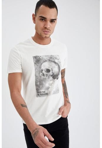 DeFacto beige Short Sleeve Round Neck Cotton Printed T-Shirt 3555DAA46559B3GS_1