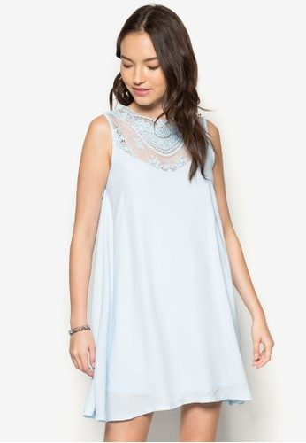 zalora時尚購物網評價蕾絲拼接連身裙, 服飾, 服飾