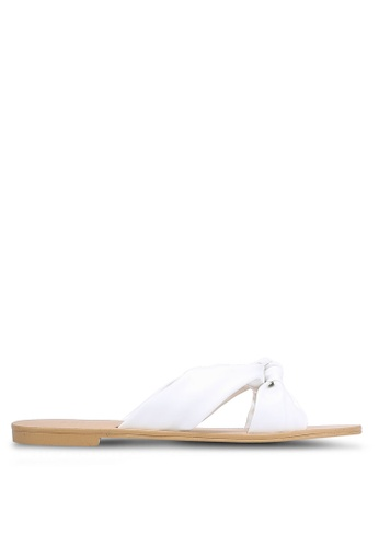 ZALORA white Faux Leather Knotted Sliders 0C087SH2D9ABD2GS_1