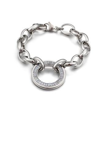 Glamorousky 白色 時尚簡約幾何圓圈316L鋼手鏈配鋯石 ADD14AC468911AGS_1