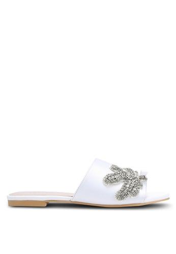Velvet white Embellished Slide Sandals BBB5ASH4CDBD8AGS_1