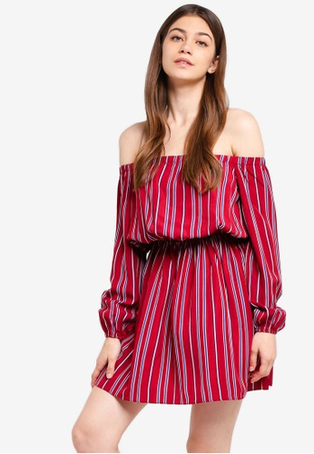 Something Borrowed red Off Shoulder Waisted Dress 04A28AAC51D54EGS_1