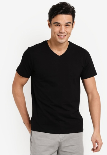 ZALORA black Cotton V Neck Short Sleeved Tee 59D9CAADF5F257GS_1