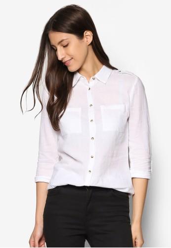 斜紋長袖休閒襯衫、 服飾、 俏皮男孩風DorothyPerkins斜紋長袖休閒襯衫最新折價