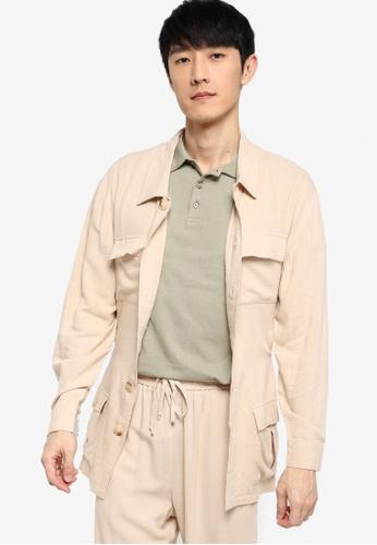 ZALORA BASICS beige Linen Jacket with Tie Belt 844D9AA2A98075GS_1