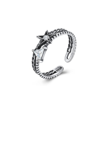 Glamorousky white 925 Sterling Silver Fashion Elegant Star Cubic Zirconia Adjustable Open Ring D7C07ACF90172CGS_1