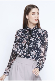 e75b14cbf The Executive black Flower Prints Blouse 6CA78AA952B609GS_1