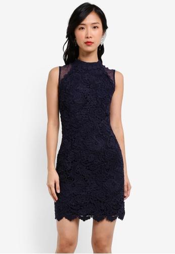 ZALORA blue and navy Crochet Lace Mesh Sheath Dress A55C3AA754F55EGS_1